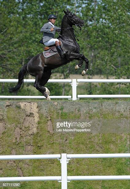 The British Jumping Derby Meeting Hickstead UK A refusal at the Derby Bank during The DFS competition