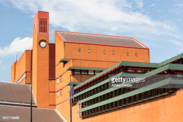 the british library in london, uk - clock tower stock pictures, royalty-free photos & images