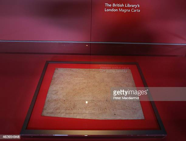 The British Library's London Magna Carta is displayed on February 2 2015 in London England Magna Carta one of the world's most influential documents...