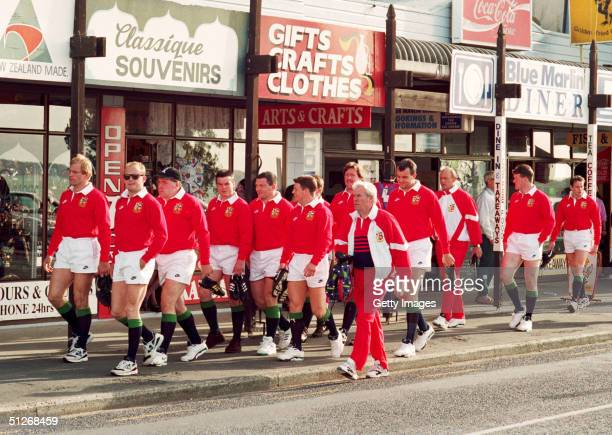 The British Lions players walk to a training session in Paihia during May 1993 in Bay of Islands New Zealand