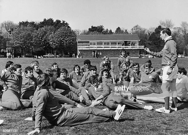 The British Lions rugby team during a training session 1971 Amongst the group are Sandy Carmichael JPR Williams Gordon Brown Barry John Ian...