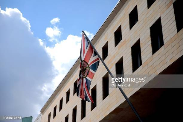 The british national flag waves outside the British Embassy on August 11, 2021 in Berlin, Germany. German law enforcement authorities announced today...