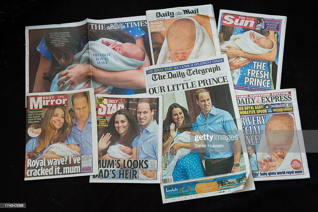 The British newspaper front pages are seen following Catherine, Duchess of Cambridge, Prince William, Duke of Cambridge unveiling their newborn son at The Lindo Wing of St Mary's Hospital on July 24, 2013 in London, England.
