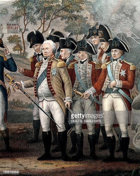 The British officers Tarleton Cornwallis Abercrombie O'Hara Symmonds Dudas and Chewton detail from The British surrendering their Arms to General...