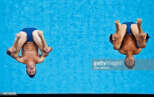 The British pair of Blake Aldridge and Tom Daley competing in the Olympic men's synchronised 10m platform diving competition in the Water Cube arena...