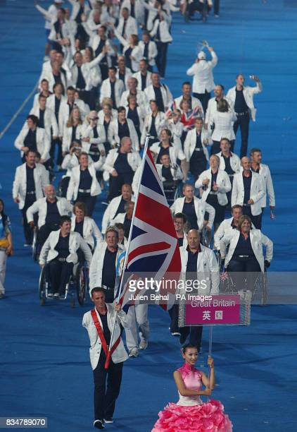 The British Paralympic team is led into the stadium by Daniel Crates during the Beijing Paralympic Games 2008 Opening Ceremony at the National...