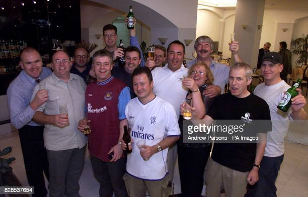 The British Plane Spotters celebrate the verdict at their hotel Steve Rush from Caterham Surrey Christopher Wilson from Gatwick Graham Arnold from...