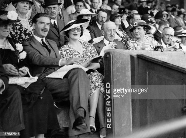 The British politican Anthony Eden with his wife during a polo game USAEngland On the right side Lord and Lady Willingdon Photograph About 1938 Der...