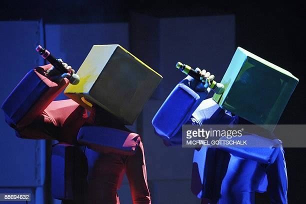 The British pop band 'Pet Shop Boys' perform on stage in Berlin on June 25 2009 The concert was one of their 'Pandemonium' tour AFP PHOTO DDP /...