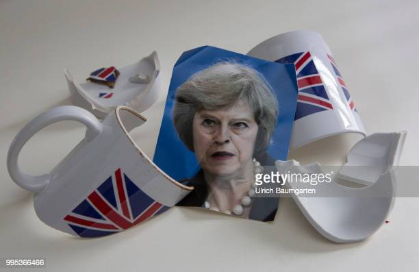 The British Prime Minister Theresa May and the Brexit Symbol photo on the topics Brexit yes or no Government crisis in England European Union etc The...
