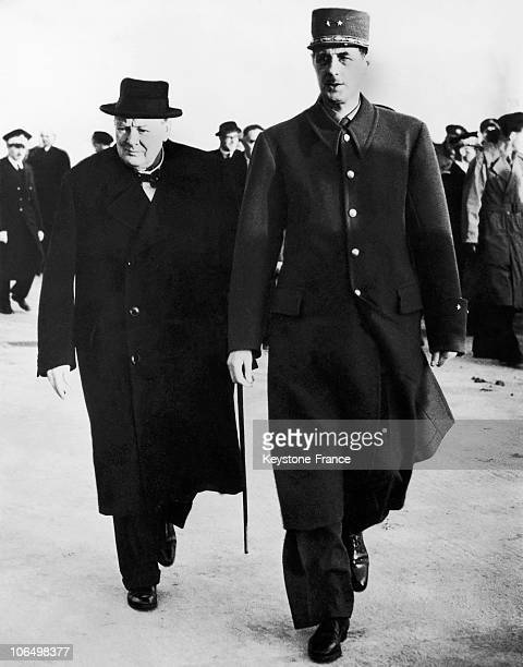 The British Prime Minister Winston Churchill And The President Of The French Provisional Government Charles De Gaulle Meeting Together In Paris...