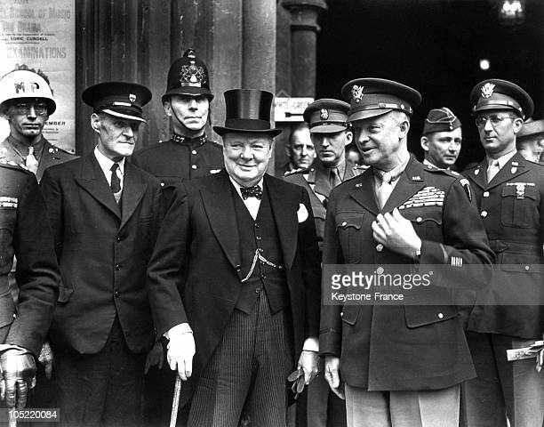 The British Prime Minister Winston Churchill Receiving The Commander Of American Forces In Europe, Dwight Eisenhower On June 12, 1945.