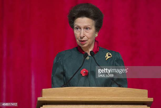 The British Princess Royal Princess Anne speaks during the opening of an exhibition celebrating the 800th anniversary of the Magna Carta at the...