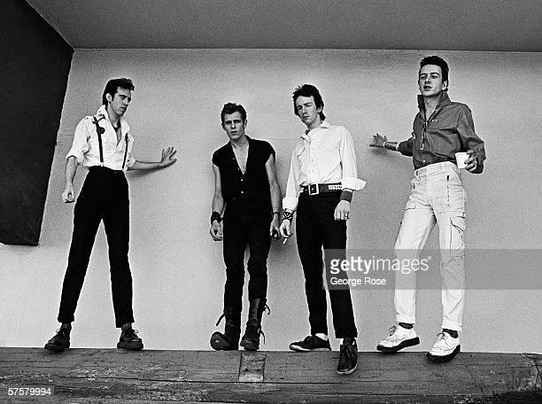 The British punk rock band The Clash Mick Jone, Topper Headon, Paul Simonon, Joe Strummer take time for a 1979 portrait session during a stop on the...