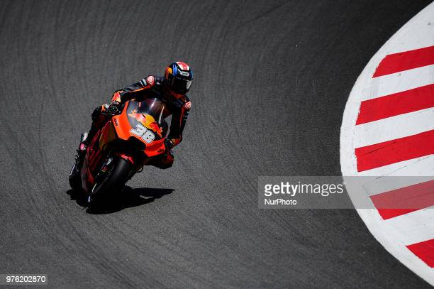 The British rider Bradley Smith of Red Bull KTM Factory Racing with his KTM during the Qualifying Moto GP of Catalunya at Circuit de Catalunya on...