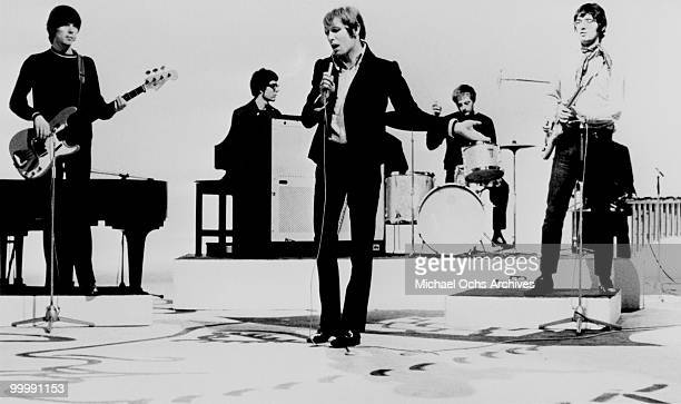 The British Rock and Roll group Manfred Mann perform on a TV show circa 1966 in New York City New York