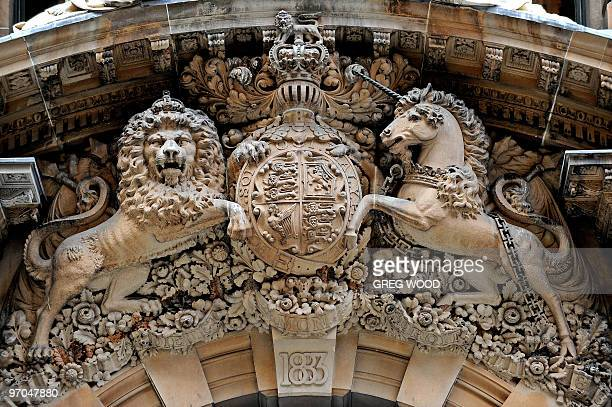 The British royal coat of arms adorn the main entrance of the historical building at number 1 Martin Place in central Sydney in this photograph taken...