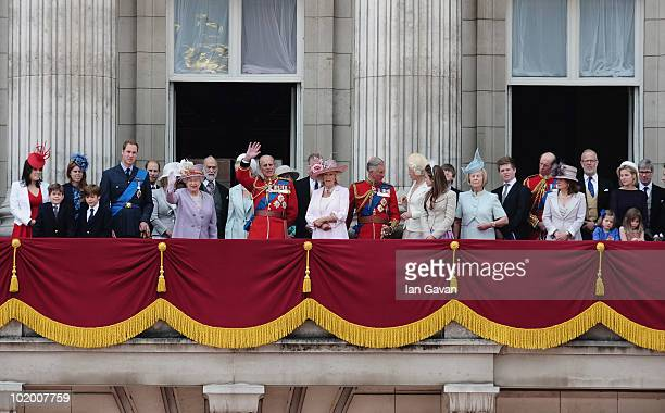 The British Royal Family including Princess Eugenie Princess Beatrice Prince William HM Queen Elizabeth II Princess Michael of Kent Prince Philip...