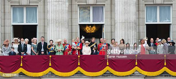 The British Royal family look on from the balcony during the annual Trooping The Colour ceremony at Horse Guards Parade on June 13 2015 in London...