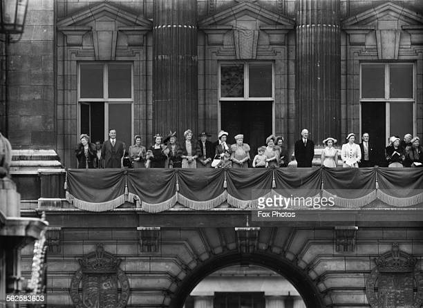 The British Royal Family on the balcony of Buckingham Palace following the Trooping the Colour King's Birthday Ceremony Duchess of Kent Queen Mary...