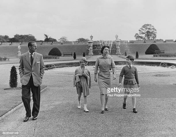The British Royal family Prince Philip Duke of Edinburgh Princess Anne Queen Elizabeth II and Prince Charles walk together in the East Terrace...