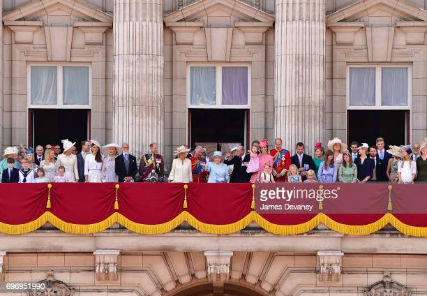 The British Royal family stand on the balcony of Buckingham Palace during the Trooping the Colour parade on June 17 2017 in London England