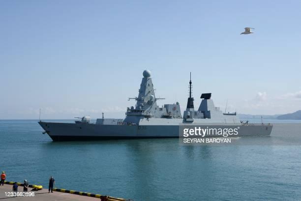 The British Royal Navy destroyer HMS Defender arrives in the Black Sea port of Batumi on June 26, 2021. - HMS Defender, makes a port call in Batumi...