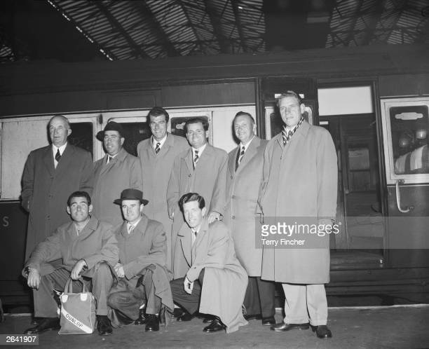 The British Ryder Cup team at Waterloo Station London Commander R C T Roe Harry Bradshaw John Jacobs Dai Rees Arthur Lees and Harry Westman Christy...