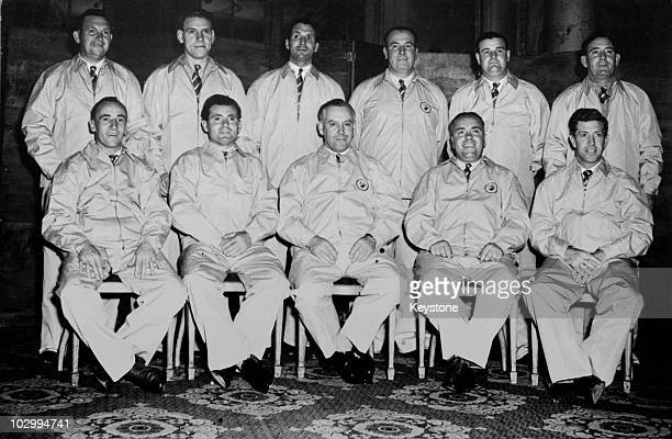 The British Ryder Cup team pose at their London hotel the night before their departure to the US, 15th October 1951. Back row, left to right: Arthur...