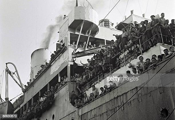 The British ship Mataroa arrives with 1,204 Jewish survivors of the Nazi persecution in Europe on July 15, 1945 at the northern port of Haifa in what...