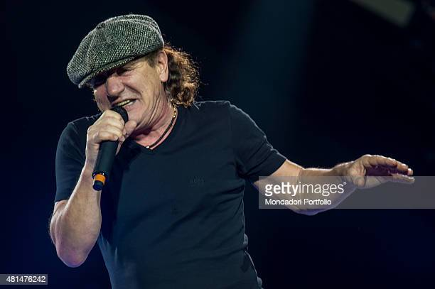 The British singer Brian Johnson frontman of the Australian hard rock band AC/DC live in concert at the Autodromo Enzo e Dino Ferrari Imola 9th July...