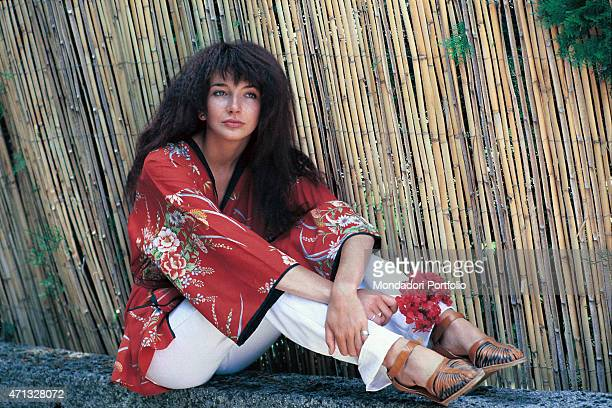 The British singer Kate Bush pose for a photo shoot Italy 1978