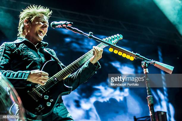 The British singer Matthew Bellamy frontman of the Muse in concert at the Ippodromo Capannelle Rome 18th July 2015