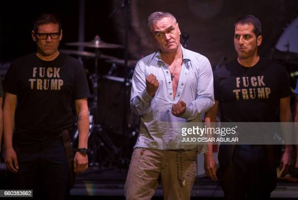 The British singer Morrissey gestures during his performance in the Citibanamex arena in the beginning of his tour in Mexico in Monterrey Nuevo Leon...