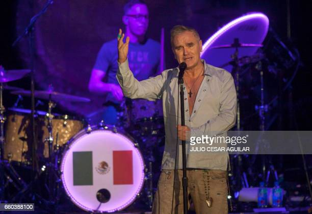 The British singer Morrissey performs during his concert in the Citibanamex arena in Monterrey Nuevo Leon on March 29 2017 / AFP PHOTO / Julio Cesar...