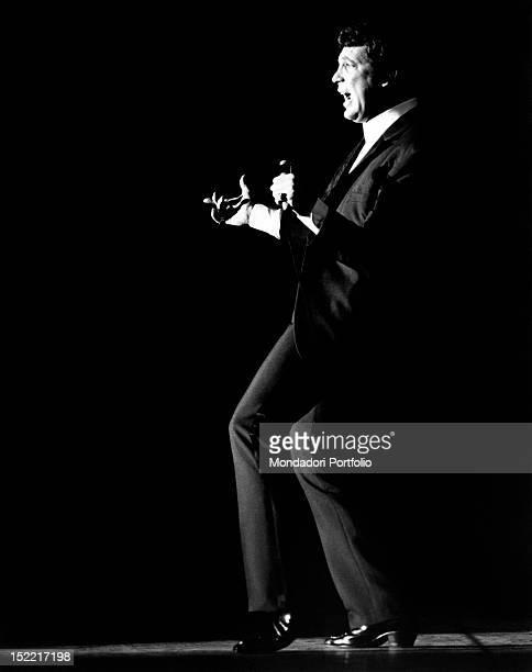 The British singer Tom Jones performing in concert London July 1968