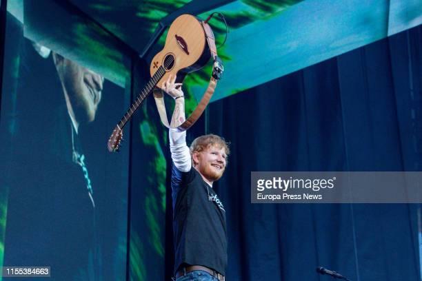The british singer-songwriter Ed Sheeran gives a concert at Wanda Metropolitano Stadium on June 11, 2019 in Madrid, Spain.