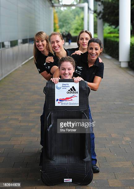 The British Skeleton World Class Squad Shelly Rudman Rose McGrandle Laura Deas Lizzy Yarnold and Donna Creighton pose before departing for the winter...