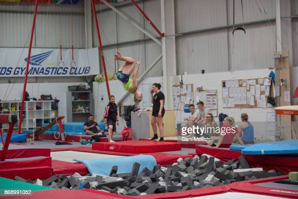 The British Ski and Snowboard team train at Leeds Gymnastic Club on 21st July 2017 in Leeds United Kingdom Leeds Gymnastic Club is one of the...