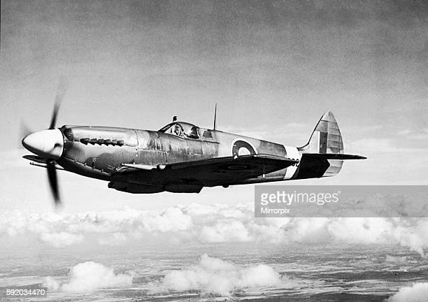 The British Spitfire fighter plane of the Royal Air Force pictured in flight during the Second World War Circa 1941