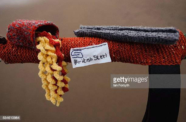 The British Steel industry is depicted by a secretive group of knitters known as the Saltburn Yarn Stormers have left a display of knitting...