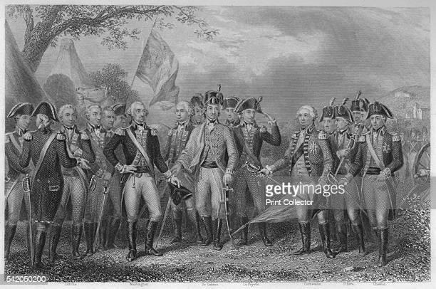 The British surrendering their arms to Gen: Washington, 1781', 1859. Defeat at YorkTown, Virginia on October 1781. Cornwallis presents his sword in...