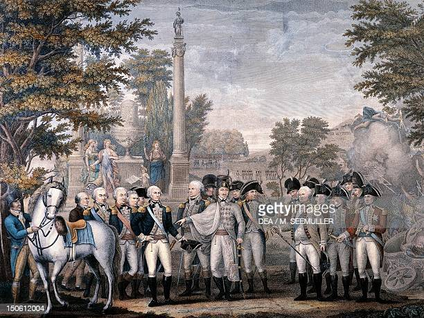 The British surrending to George Washington after the Battle of Yorktown in October 1781 by John Francis Renault engraving American War of...