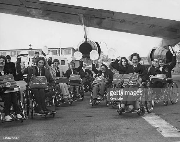 The British team at London Airport en route to Tokyo for the Summer Paralympic Games 4th November 1964 Many of the team are from Stoke Mandeville...