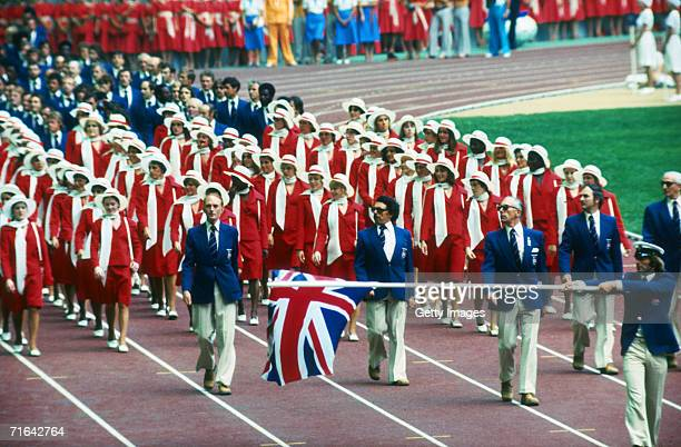 The British team carry the Union Jack around the Olympic stadium during the opening ceremony of the 1976 Montreal Olympics 17th July 1976