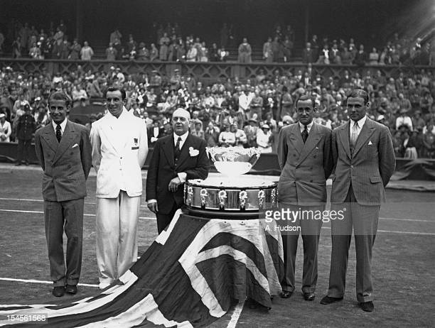 The British team with the trophy on the Centre Court at Wimbledon after retaining the Davis Cup London 28th July 1936 Left to right Bunny Austin Fred...
