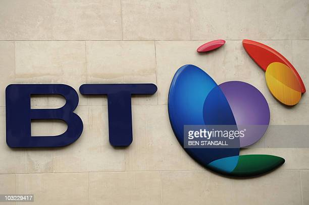 The British Telecom logo is pictured in London on May 13 2010 British telecoms firm BT bounced into profit during its 2009/2010 financial year after...