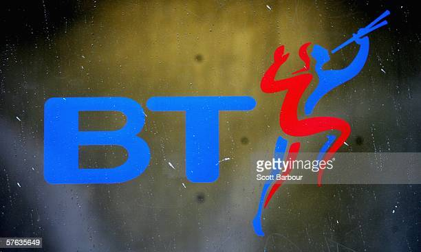 The British Telecom logo is seen on a BT phone box on May 17 2006 in London England Telecommunications company BT will announce their full year...