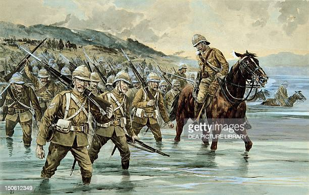 The British troops of General French crossing the Sand River by Frank Feller watercolour Second AngloBoer South African 20th century