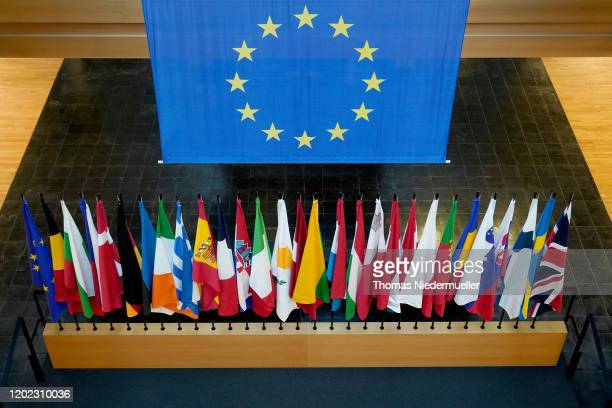 The British Union Jack flag is displayed amongst European Union member countries' national flags inside of the European Parliament on January 27 2020...